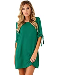 FEITONG Mujeres sólidas bowknot cóctel mini vestido (Verde, M)