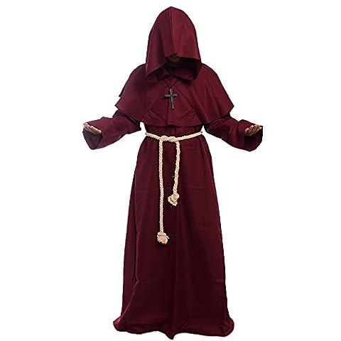 BLESSUME Prêtre Peignoir Frère Médiéval Capot Encapuchonné Renaissance Moine Costume (M, Bourgogne)
