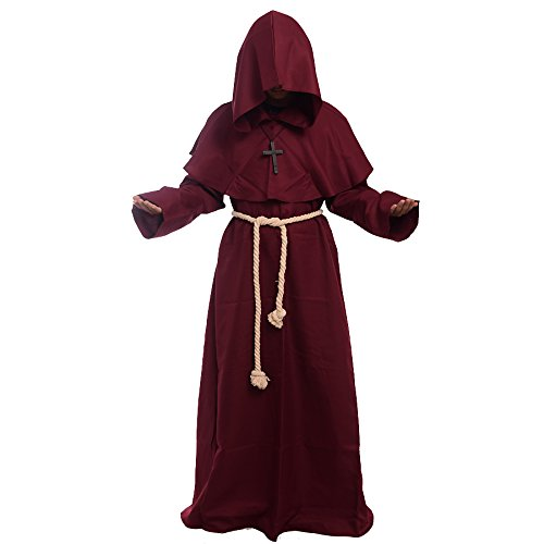 BLESSUME Priester Robe Mönch Mittelalterliche Kapuze Kapuzenmönch Renaissance Robe Kostüm (Burgund) (Kostüme Dress Kapuzen Robe)
