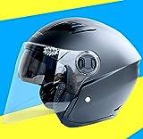 Motorrad-Halbhelme Männer Und Frauen Vier Jahreszeiten Scooter Anti-Fog-Doppellinse Jet Helme Crash Pilot Cruiser Jethelme,Black-(54-60)