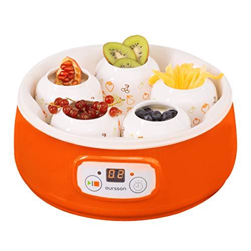 Oursson FE1502D/OR, Yogurtera, Capacidad 1 L, 5 x Tarros de Cerámica, Control Digital, Color naranja.