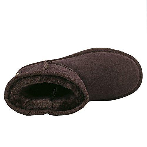 Shenduo Damen Schlupfstiefel Halb Winterstiefel Leder Winterschuhe Klassisch Boots DA5825 Schokolade