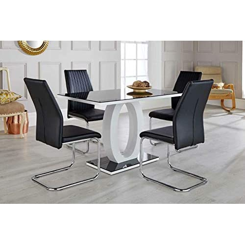 Furniturebox UK Giovani Black/White High Gloss Glass Dining Table Set and 4 Lorenzo Chairs Seats (4 Chairs)