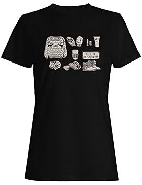 HAPPY FELIZ NAVIDAD INVIERNO ESENCIAL FUNNY NOVELTY NUEVO camiseta de las mujeres -l87f