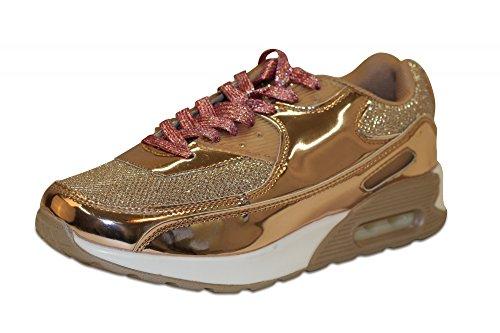Sportive Chaussures Femme High Top Sneaker Chaussures Chaussures de Sport de loisirs chaussures lacets de chaussures fitness avec paillettes et vernis Beige - Champagne