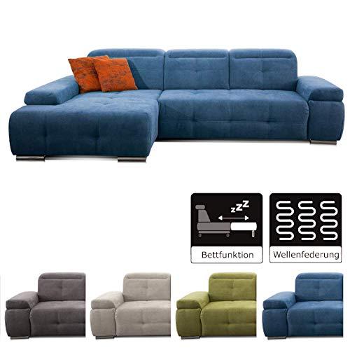 CAVADORE Schlafsofa Mistrel mit Longchair XL links / Große Eck-Couch im modernen Design / Mit Bettfunktion / Inkl. verstellbare Kopfteile / Wellenunterfederung / 273 x 77 x 173 / Blau