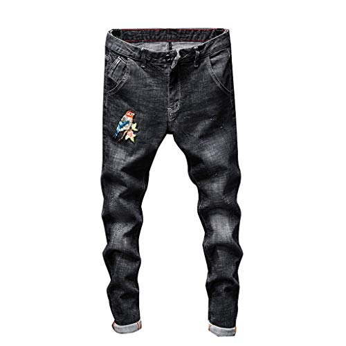 56187eb6 Daylin Fashion Men's Leisure Daily Sport Individuality Printed  Self-Cultivation Straight Jeans Shorts Black