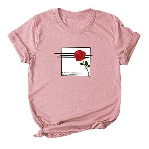 yazidan Damen T-Shirt Große Größen Casual Mode O-Neck Rose Drucken Kurzarm Frauen Oberteil Teenager Mädchen Tops Hemd S-5XL