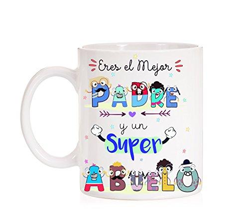 FUNNY CUP Taza Eres un Gran Padre y un Super Abuelo Taza de Regalo para el día de los Padres o Abuelos. Ideal para Regalar. Regalo Divertido.
