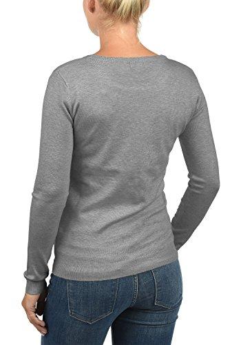DESIRES Effie Damen Strickjacke Cardigan Feinstrick mit Rundhals-Ausschnitt aus hochwertiger Materialqualität Grey Melange (8236)