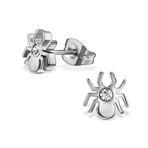 Laimons Damen-Ohrstecker Damenschmuck Spinne Glitzer Edelstahl (Spider Edelstein Ohrringe)