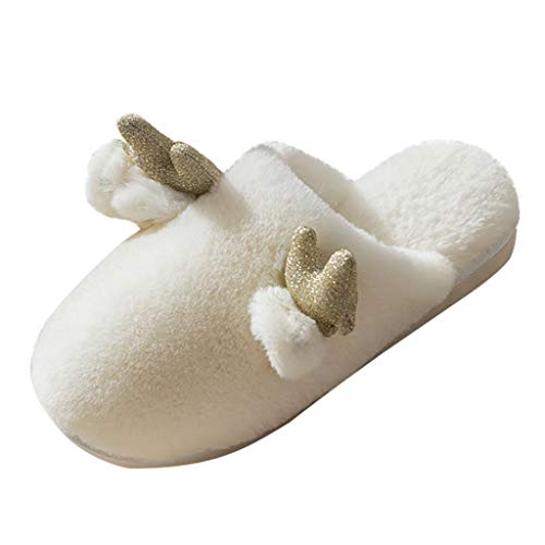 SSUPLYMY Slippers Unisex Breathable Sweat-Absorbing Non-Slip Slippers Indoor Outdoor Shoes Winter Warm Comfort Memory Foam Slippers Faux Wool-Like Plush Fleece Lined House Shoes Indoor Rubber Sole