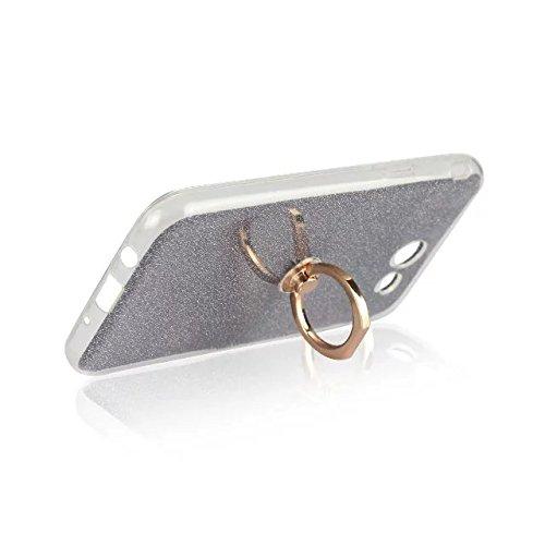 Luxus Bling Sparkle Style Case, Soft TPU [Silikon] Flexible Glitter Rückentasche mit Fingerring Stand [Anti Scratch] [Shockproof] für Samsung Galaxy J7 2017 (J720) ( Color : White ) Black