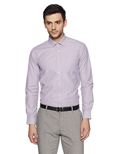Excalibur EX Men's Solid Regular Fit Formal Shirt (276432921 Purple 44 FS)