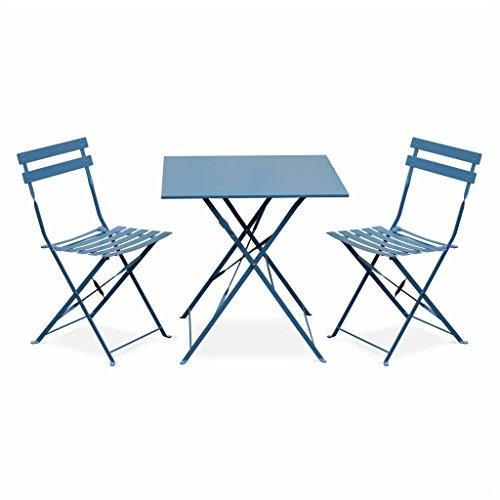 Alice's Garden - Salon de Jardin bistrot Pliable - Emilia carré Bleu grisé - Table 70x70cm avec Deux chaises Pliantes, Acier thermolaqué