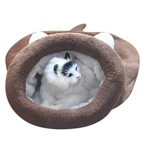 friendGG ❤️❤ Haustier Nest Teddy Kennel Cat Hund Mat Baumwollnest Winter Kennel Schlafsack Kätzchen Katze Bett Haustier Welpen warme Höhle weichen Hund Haus Schlafsack Matte Fleece Pad (M, Braun) -