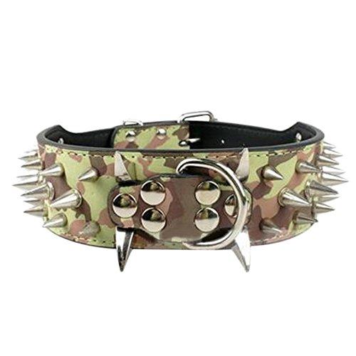 Livecity Nietenhalsband aus Kunstleder, breit, mit scharfen Stacheln, Halsband für mittelgroße Hunde, Pitbull