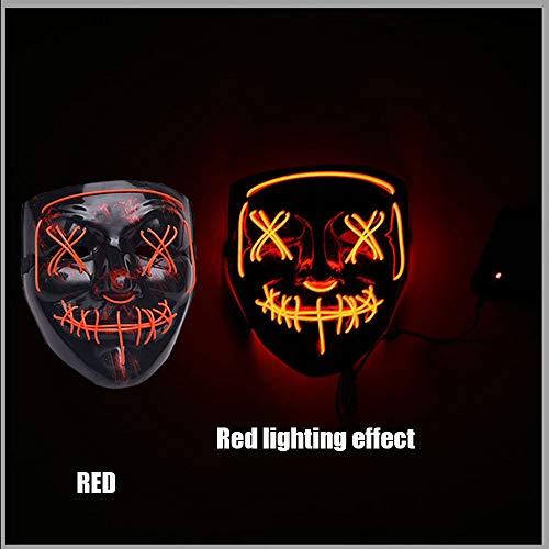 LED Halloween Maske, Leuchten Maske Scary Horror Glowing Mask Cosplay Kostüm Für Erwachsene Für Ghost Festival/Halloween/Weihnachten/Lagerfeuer Party/Party/Spiel/Geschenk,Rot (Lagerfeuer Kostüm)