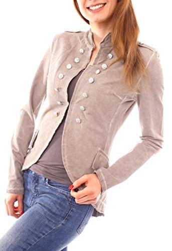 Easy Young Fashion Damen Vintage Military Jerseyblazer Fango