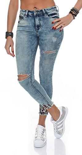 SKUTARI Luxus Damen Destroyed Jeans Hose Skinny Slim Schlank Röhren Jeggings Stretch dehnbar Sexy Waist Taille Pencil Pants , (Farbe Washed-Blue , Größe M) (Handtaschen Hobo Blue)