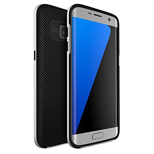 Original iPaky Brand Luxury High Quality Silicon Black Back + PC Silver Bumper Frame Shockproof Back Cover for Samsung Galaxy S7 Edge -Silver