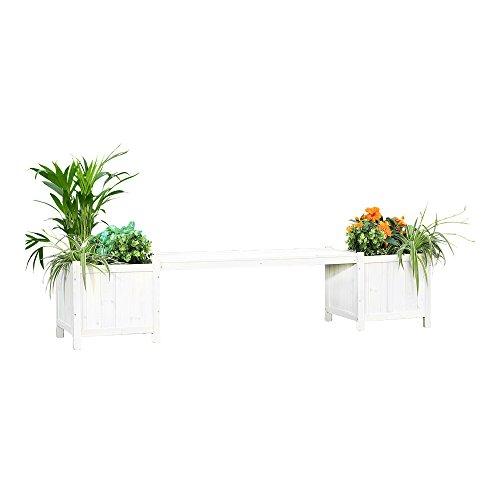 Melko 2in1 Gartenbank mit 2 Blumenkästen Blumenkübel Pflanzkübel, 180 x 40 x 40 cm, weiß