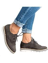 81fe699de Juleya Zapatos Planos con Cordones de Las Mujeres Brogue Zapatos Planos del  talón Plano de la
