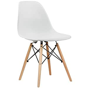 Charles & Ray inspiriert Eiffel DSW Retro Design Wood Style Stuhl für Büro Lounge Küche-weiß (1)