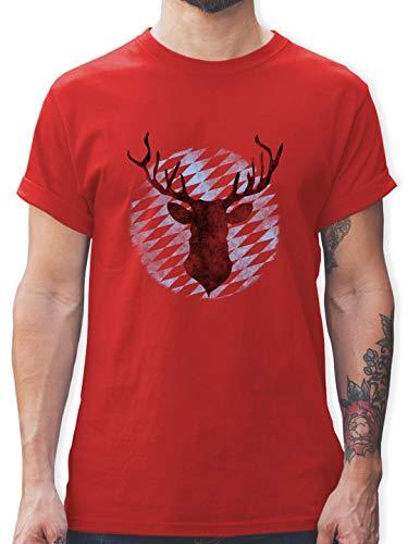 Oktoberfest Herren - Hirsch Bayern - 3XL - Rot - L190 - Herren T-Shirt und Männer Tshirt Herren Hirsch