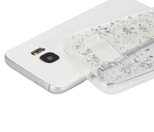 Moda Samsung Galaxy S6 Silicone Custodia, PLECUPE Ultra Thin Brillantini Shiny Glitter Lamina doro Crystal Trasparente Chiaro Caso Cover, Flessible Soft TPU Silicone Rubber Gel Anti-Scratch Full Body Argento