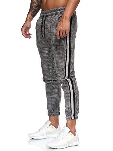 OneRedox Herren   Jogginghose   Trainingshose   Sport Fitness   Gym   Training   Slim Fit   Sweatpants Streifen   Jogging-Hose   Stripe Pants   Modell 1226 Grau Rot XXL -