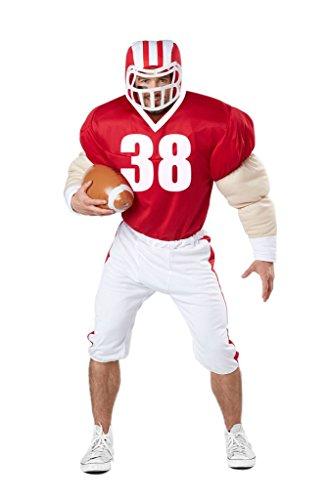 Kostüm Spieler Damen Football - American Football Spieler Kostüm (mit Helm und Ball) Karneval Verkleidung Herren Größe L/XL