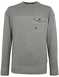 New Duck And Cover Brady Grey Marl Jumper Sweatshirt Top Pull Over Crew Neck & Designer Smart Casual
