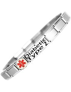 Armband Edelstahl identifiziert im Notfall Diabetes Typ 2-Patient medizinisches Hilfsmittel verstellbar Einheitsgröße