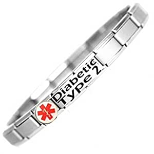 Diabetic Type 2 Medical ID Alert Bracelet - Stainless ...