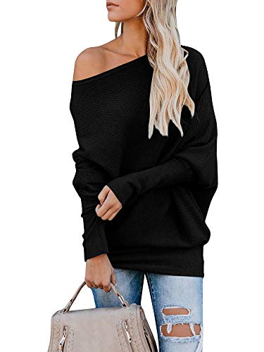 Pommaxe Oversize Pullover Damen Off Shoulder Loose Fledermausärmel Sweatshirt Casual Strick Oberteile T-Shirt -