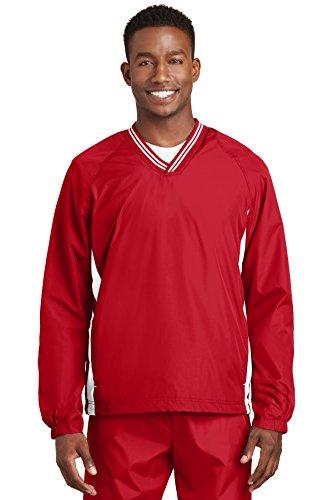 Sport-tek Herren Raglan (Sport-tek Herren Trinkgeld V Neck Raglan Wind Shirt, Herren, JST62, True Red/White, XXXXXXL)
