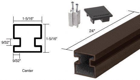 C.R. LAURENCE 6407424 CRL Duranodic Bronze 24 Center Aluminum Counter Post by C.R. Laurence