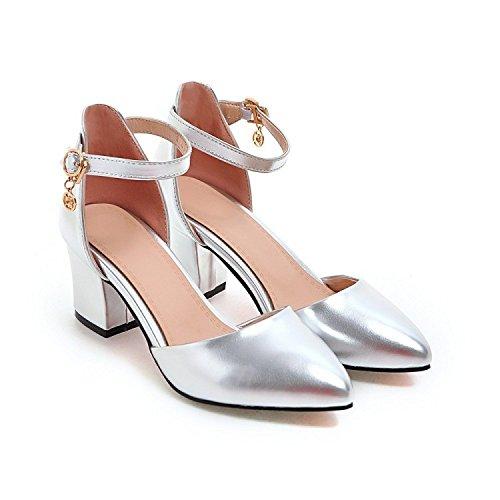 Damen-Heels Ankle Strap Fashion Block Heels Schuhe Flache Spitz High Heels Schuhe,Silver-EU39=245 Leder Ankle Strap Pumps