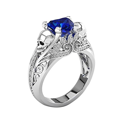 Zibuyu Punk Style Skull Zircon Ring For Women Crystal Jewelry Girls Gift(Blue)(6)