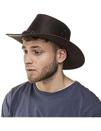 i-smalls Chapeau de Soleil en Cuir Homme Déformable Classique Aussie