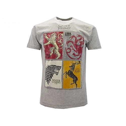 T-Shirt Camiseta BLASON Armas 4 FAMILIAS Serie de Televisión Juego DE Tronos Game of Thrones - 100% Oficial HBO 2