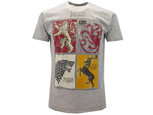 T-Shirt Camiseta BLASON ARMAS 4 FAMILIAS Serie de Televisión JUEGO DE TRONOS Game Of Thrones - 100% Oficial HBO (L Large)