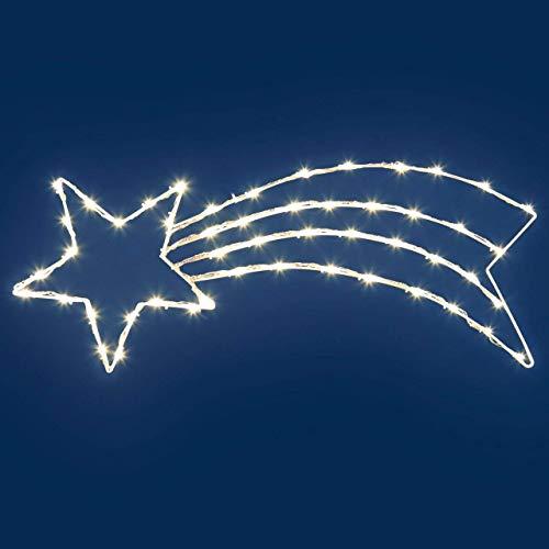 Innenräume Draußen Lichterketten Led Streifen Weihnachts Innenbe Außenbe Lauflichter Lichtschläuche Garten-Fackeln Spezial Stimmungsbeleuchtung LED-Dekoleuchte, weißer Metallrahmen, 85 x 33 cm, 50 coolweiße LED-Weihnachtslichter, mit Lichtwiedergabe