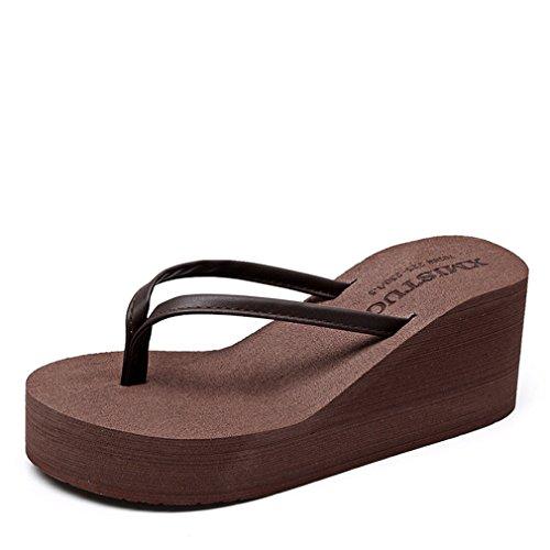 Summens Zehentrenner Damen Sandal Flip Flops Pantolette mit Hohen Absätzen (Braun, 37 EU)