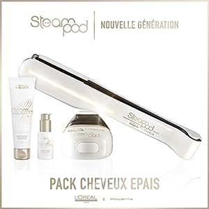 L'oreal - Pack Steampod 2.0 - fer à lisser vapeur nouvelle génération + Sérum + Lait creme de lissage cheveux épais