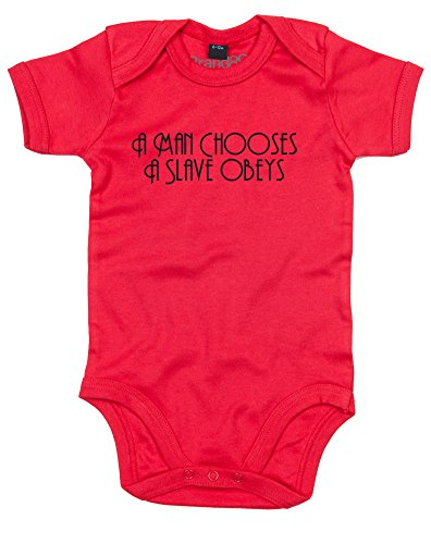 A Man Chooses, A Slave Obeys, Gedruckt Baby Strampler - Rote/Schwarz 3-6 Monate