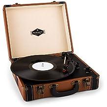 auna Jerry Lee • tocadiscos • reproductor de vinilos • accionamiento por correa • altavoces estéreo • puerto USB para digitalización • 3 velocidades • 33/45/78 rpm • 3 tamaños de vinilo • café