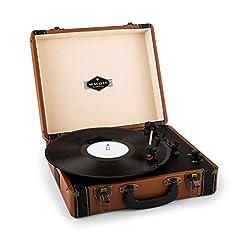 Idea Regalo - auna Jerry Lee Giradischi a valigetta vintage compatto e portatile (casse audio altoparlanti integrate, maniglia per trasporto, USB, MP3) - marrone