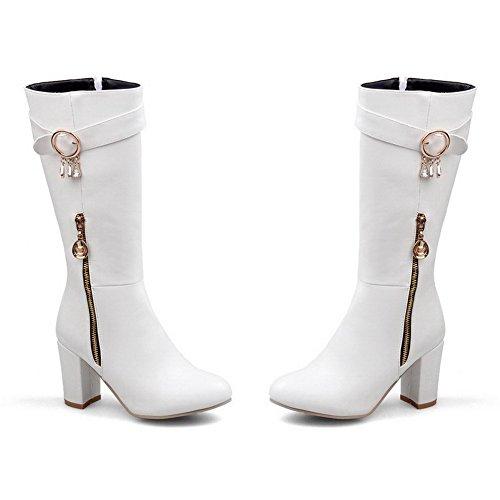 VogueZone009 Damen Hoher Absatz Spitz Zehe Weiches Material Reißverschluss Stiefel Weiß